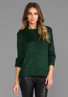 Tibi Chunky Lurex Sweater in Green