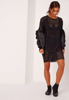 Fishnet T-Shirt Dress Black - Missguided