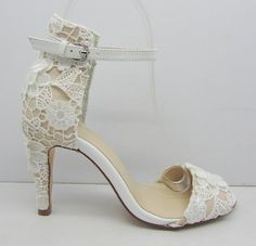 Wedding ShoesFloral Lace Bridal Shoes Peeptoe Lace by laceNbling, $89.00