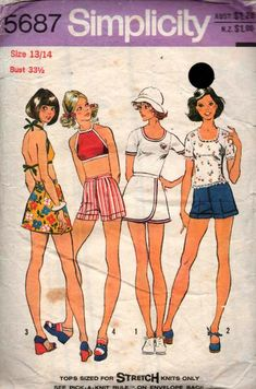 1970s Simplicity 5687 Teen Stretch Tops Wrap Mini Skirt & Shorts Vintage Sewing Pattern Size 13 / 14 Bust 33 1/2 inches