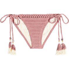 She Made Me Crochet Bikini Bottoms (165 BGN) ❤ liked on Polyvore featuring swimwear, bikinis, bikini bottoms, pink, swim bikini bottoms, pink bikini bottoms, macrame bikini, retro swimwear and boho bikini