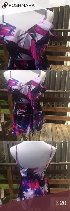 Billabong | Patterned Top Excellent condition. Billabong Floral patterned top with off center ruffle, adjustable straps, cinched bodice, back zip up. Billabong Tops Blouses