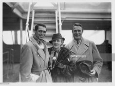 Actors Cary Grant, Randolph Scott And Virginia Cherrill aboard the SS Pars on its arrival at Plymouth, England, November 24th 1933.