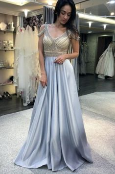 A-Line V-Neck Cold Shoulder Sweep Train Light Blue Prom Dress with Beading by olesaweddingdresses, $140.52 USD Classy Prom Dresses, Prom Dresses Blue, Evening Dresses, Formal Dresses, Homecoming Dresses, Sexy Dresses, Party Dresses, Wedding Veil