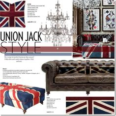 Union Jack Style by dian-lado on Polyvore featuring interior, interiors, interior design, home, home decor, interior decorating, Andrew Martin, Trans Globe Lighting, nuLOOM and Barclay Butera