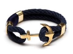 Nautical Rope Bracelet / Nautical Anchor Bracelet / Navy Blue Anchor Bracelet / Gold Anchor Bracelet / Nautical Jewelry / Nautical Gift by AllisonColeJewelry on Etsy https://www.etsy.com/ca/listing/467131866/nautical-rope-bracelet-nautical-anchor