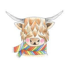 This little shaggy cow is warm and toasty in it's retro scarf.     Postage FREE within Australia!    : : : w h a t ' s i n c l u d e d : : :    Print of the original watercolour painting   Paper size A4 (21 x 29.7cm or approx. 8 x 11 inches)   Printed on Archival Matte Paper 300gsm   Signed by artist    - Shipped in a protective sleeve inside a stiff cardboard enclosure to prevent bending    * Colors may vary between screens and printed material - expect subtle differences    : : : S H I PP…