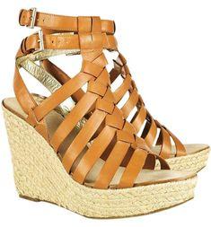 a8e7654f2ed Belle by Sigerson Morrison Camel Leather Gladiator Sandals Wedges Size US  8.5 Regular (M