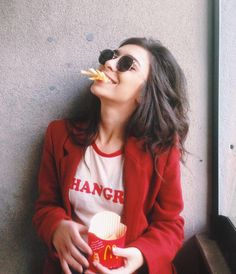 Brunette Girl eating fries on a Deli #Red #Tumblr #Photography