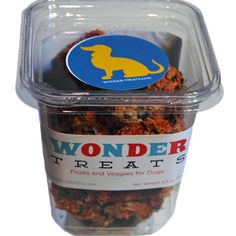 Wonder treats are fruits and veggies for dogs. Leading vets say that dogs are not getting enough vegetables in their diet and Wonder Treats are made from the human grade pulp leftover from organic juicing. No grain, no fillers, just fruits and veggies that are good for dogs. Made by hand in Seattle Washington