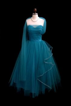 Vintage 1950's 50's Aqua Tulle Strapless Ruched Cocktail Party Dress S