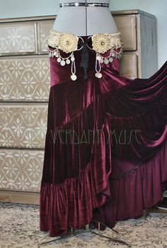 Madalene Velvet Skirt- Spiced Plum Size L Ready to Ship Ruffle Twist Skirt Boho Bellydance Tribal Fusion Maxi