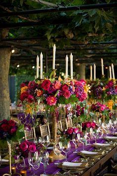 Jewel toned floral centerpieces <3  Sapphire, Ruby, Emerald, Amethyst, Topaz, Quartz