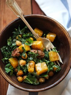 Kale Salad with Butternut Squash, Chickpeas and Tahini Dressing