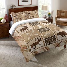 Rustic and covered in patterns of deer, elk, bears, and more, this bedding is ideal for bringing some of nature indoors. The comforter is available in several sizes and will instantly help you relax w