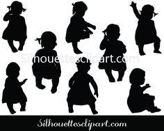 Baby Silhouette Vector - Silhouette Clip Art