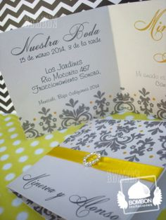 #Wedding #Boda #damask #damasco #damasko #yellowl #amarillo #gray #gris #ribbon #liston #white #invitation #invitaciones #Bombon #InvitacionesBombon https://www.facebook.com/invitaciones.bombon