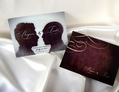 Silhou-Wed (Sepia) by Queer Getting Married. The epitome of panache, Silhou-Wed features the classic elegance of the silhouette and a beautiful script font. You provide photos of both of your profiles, and we will do the rest! Envelopes are off-white with natural fibers and a rectangular flap.