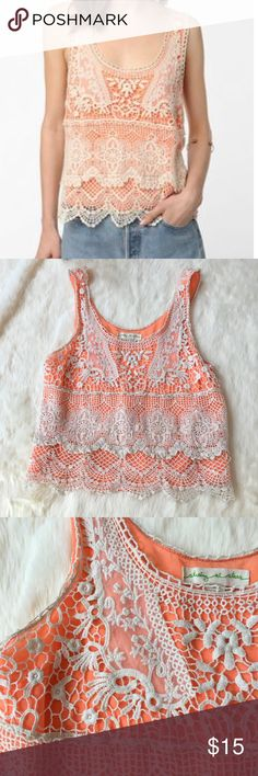 Urban Outfitters orange and cream crochet tank Bright orange under fabric with cream crochet on top. In great condition! Staring at Stars Tops Tank Tops