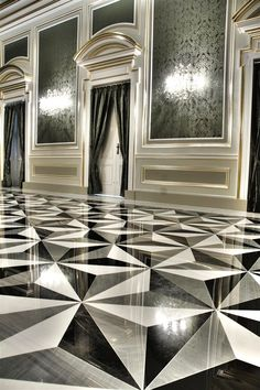 #Patterned #monochromatic floors in Nero Belgio, Bardiglio and Bianco Sivic #marble at the Beland Band Club in Żejtun.