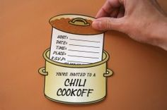 How To Host a Chili Cook-off Party (includes free printable invites and more:) Chili Party, Potato Bar, Chili Cook Off, Chili Seasoning, Fall Fest, Party Invitations, Invite, Party Entertainment, Fundraising