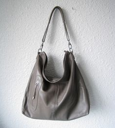 Grey leather hobo bag - Hobo purse - Leather hobo bag - MEDIUM ...