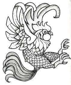 Rooster Printable Black and White Black Rooster by ~Cubos on deviantART Coloring Pages\/Line Red Ink Tattoos, Wolf Tattoos, Body Art Tattoos, Tattoo Drawings, Sleeve Tattoos, Black Rooster, Rooster Art, Chicken Painting, Chicken Art