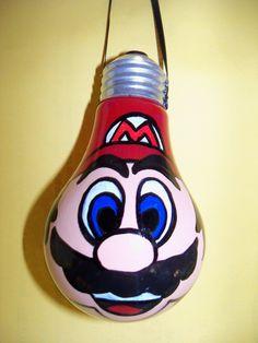 Mario Brothers (Mario) hand painted lightbulb ornaments. $6.50, via Etsy.