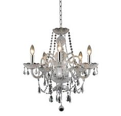 View the Elegant Lighting 7835D20C Princeton 5-Light, Single-Tier Crystal Chandelier, Finished in Chrome with Royal Cut Clear Crystals at LightingDirect.com.