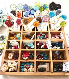 Yummy box of buttons! {craft booth setup}