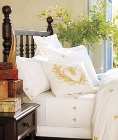 Pottery Barn Bee Bedding via Design Happens. Made me think of @Sherry S @ Young House Love and her beautiful backyard wedding! :)