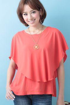 Double Layer Poncho Blouse (Orange)   Cherry Ann Online Shop Cherry Ann, Ruffle Blouse, Blouses, Orange, Long Sleeve, Sleeves, Shopping, Tops, Women