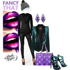 """""""Fancy That"""" by herroyalflyness on Polyvore Purple and green should always be seen. #fashion #heels #seatbeltbag #outift"""