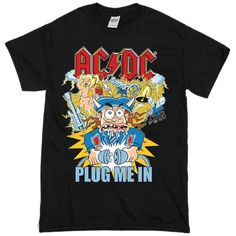 AC DC Unplugged T-shirt - Basic tees shop Cheap Shirts, Cool T Shirts, Custom Clothes, Custom Shirts, Men Clothes, Basic Tees, Printed Shirts, Shirt Style, Ac Dc