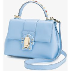 Dolce & Gabbana Lucia shoulder bag ($2,390) ❤ liked on Polyvore featuring bags, handbags, shoulder bags, blue leather handbags, beaded purse, blue shoulder bag, kiss-lock handbags and leather purses