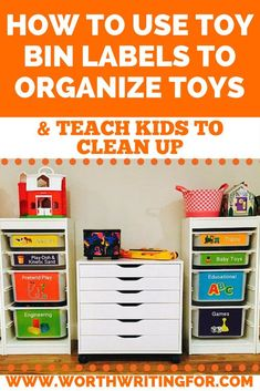 Ready to organize toys in your kids playroom? Want to make it simple so your child can put away their own toys? Toy bin labels can help you do both! Check out this post to find out how toy bin labels can organize toys and help kids learn to clean up! #org