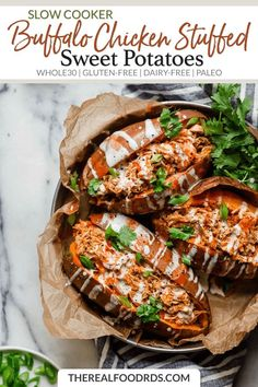 A hearty and healthy, slow cooker buffalo chicken that's shredded and stuffed inside of a perfectly baked or grill sweet potato. A recipe for all you buffalo chicken fans. Slow Cooking, Slow Cooked Meals, Healthy Slow Cooker, Slow Cooker Recipes, Paleo Recipes, Crockpot Recipes, Real Food Recipes, Weekly Recipes, Paleo Meals