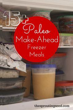 Paleo Make Ahead Freezer Meals Recipes - The Sprouting Seed #paleo #freezermeals