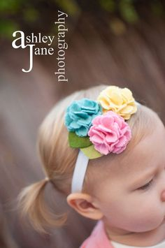Baby headband Felt Flower Headband Wool Felt Flower Kate-Swan, Butter, Cottoncandy-U Pick Headband, or Hair Clip, or Brooch via Etsy