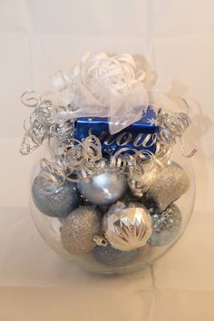 Christmas Centerpiece - Silver and Blue Holiday Decoration #christmasdecoration #christmasornament