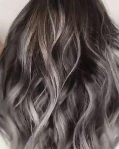 Wavy Ash Balayage Ashy going up in smoke. Grab your ashy toners from M Balayage Hair Grey, Ashy Hair, Grey Hair Dye, Gray Hair Highlights, Hair Streaks, Brown Blonde Hair, Hair Color Blue, Blue Hair, Dark Hair
