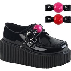 f5daa92dc Inked Boutique - Women s Demonia CREEPER-222 Platform Oxford Creeper Black   spikes Bag Gag