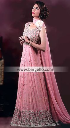 D4151 Stylish Pink Floor Length Anarkali Churidar Suit For Special Occasions Baltimore Maryland Anarkali