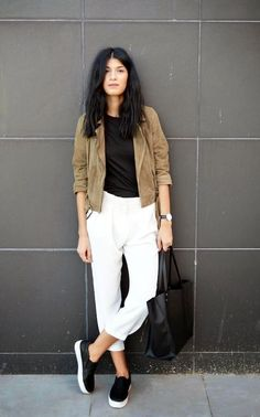 suede jacket, black tee, cropped white pants and slip-on sneakers #style #fashion