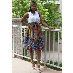 Amsa African Print Midi Skirt with Sash (Multipattern Print)