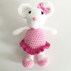 Mindy The Pink Crochet Ballet Mouse