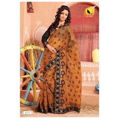 Net Saree - With machine embroidery. with border. Orange Colour. NEW LAUNCH SEPT 13 COLLECTION - Online Shopping for Net Sarees by Muhenera