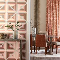 Wallpaper, from £58 per roll; 'Cupola' fabric (as chairs and curtains), £49 per roll; 'Aves Paprika' fabric (on chairs), £47 per metre, all Harlequin