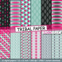 "Tribal digital paper: ""TRIBAL PAPER"" with tribal patterns and tribal background, arrows, feathers, leaves, chevrons by clairetale. Explore more products on http://clairetale.etsy.com"