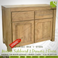 MODERN SIDEBOARD - Indonesian handmade modern sideboard teak 2 Drawers 2 Doors. #HandmadeFurniture #Sideboard #Teak #Handcarved #Storage #Idea #sokokayu